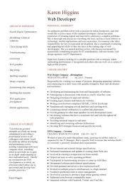 Web Designer CV Sample Example Job Description Career History Resume Samples Printable Developer Responsibilities