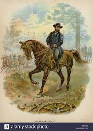 Union General Ulysses S Grant On Horseback A Civil War Battlefield Color Lithograph