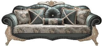 casa padrino luxus barock wohnzimmer sofa mit glitzersteinen und dekorativen kissen grün creme beige 220 x 85 x h 100 cm möbel im barockstil