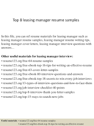 Top 8 Leasing Manager Resume Samples In This File You Can Ref Materials For