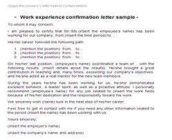 Work experience confirmation letter sample