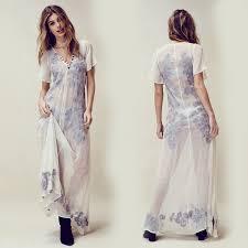 bohemian beach maxi dress summer embroidery deep v neck white