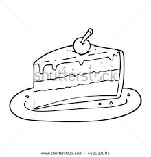 freehand drawn black and white cartoon slice of cake