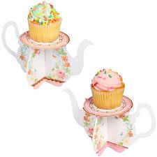 Floral Tea Party Teapot Cupcake Stands 6ct Image 1
