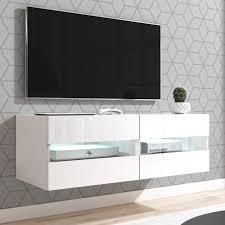 tv lowboard rial in weiß hochglanz hängend 100 x 35 cm mit led beleuchtung