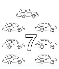 Learn Number 7 With Seven Cars Coloring Page
