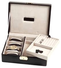 Dresser Valet Watch Box by Brown Leather 4 Watch Case And Valet With Removable Tray And