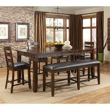 Modern Dining Room With Dark Espresso Upholstered Counter Height Table