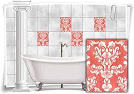 medianlux fliesen aufkleber fliesen bilder damast barock nostalgie retro floral terracotta bad wc deko folie badezimmer dekoration 8 stück 20x25cm