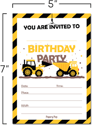 100 Kids Dump Trucks 30 Construction Birthday Invitations With
