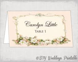 Pink Place Card Template Parisian Name Cards DIY Vintage Blossom Wedding Printable