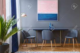 Pink And Navy Blue Painting Above Table And Grey Chairs In Dining.. Fairy Contemporary Fabric Ding Chairs Set Of 2 Navy Blue Shelby Chair In Channel Tufted Velvet By Meridian Fniture Hanover Mcer 5piece Patio With 4 Cushioned And A 40inch Square Table Mercdn5pcsqnvy Colston Silver Leaf Including Brookville Harley Traditional Microfiber Details About Bates New Opal Room Gold William