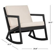 Safavieh Outdoor Living Vernon Rocking Chair - Black / White Isla Wingback Rocking Chair Taupe Black Legs Safavieh Outdoor Living Vernon White Rar Eames Colby Avalanche Patio Faux Wood Rapson Amazoncom Adults For Heavy People Clips Monet Rattan Rocking Chair Base Pp Ginger