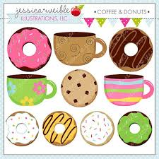 Coffee And Donuts Cute Digital Clipart For Commercial Or Personal Use Donut Graphics On Etsy 500