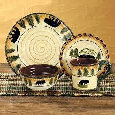 Rustic Dinnerware Sets Black Bear Forest Set Stoneware Dinner