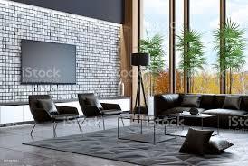 luxus villa wohnzimmer interieur mit modernen schwarzen möbeln stockfoto und mehr bilder architektur