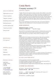 Company Secretary CV Sample Job Description And Activities Secretaries Resume