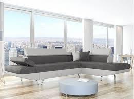 canape d angle simili canapé d angle en simili cuir et tissu droit blanc gris