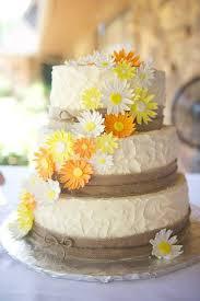 Burlap Daisies Wedding Cake Rustic