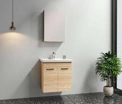 badmöbel set enez 3 tlg breite 65 cm mit spiegelschrank holzoptik