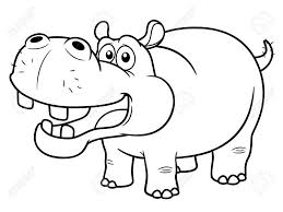Sheets Hippo Outline Drawing 93 With Additional Coloring Pages Online