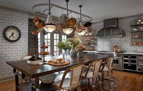 pot rack kitchen island dining table eclectic kitchen