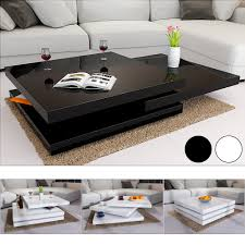 100 Living Room Table Modern Rotating Coffee High Gloss Layers Furniture