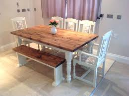 8 Seat Dining Room Table Shabby Chic Rustic Farmhouse Solid Bench And 6
