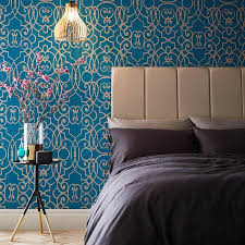 teal and gold wallpaper for walls paulbabbitt