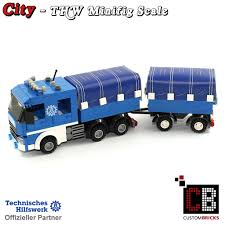 CUSTOMBRICKS.de - CUSTOM Modell MOC City THW Fahrzeug ... Lego Toys R Us City Truck Itructions 7848 Old Long Nose Working Semi Pulling The Dhl Trailer Moc3961 Truck Town 2015 Rebrickable Build Lego 05591 Red Bird Trailer And Jet By Knightranger Lego T2 Mkii With Lowboy Tr4 Mkll Dolly Flatbed I Saw This Kind Of Crane Section On A Flat Flickr Custombricksde Custom Modell Moc Thw Fahrzeug Vehicles Bdouble Curtainsider Pictures Review The Brick Fan