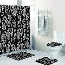redbeans 4 teiliges badezimmer set vintage retro totenkopf motiv wasserdicht duschvorhang anti rutsch vorleger wc deckelbezug und badematte