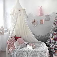 mountchen kinder schlafzimmer baldachin mit pompoms dekorative baldachin für kinder zimmer dekor baby mädchen junge kindergarten dekoration chiffon