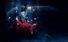 arts sacrifice blood dark red dress wings angel feathers