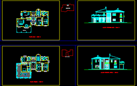 ▷ Villa plans 2d in AutoCAD Download CAD free 18338 KB