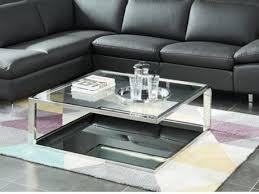 table basse design jonava verre trempé miroir métal