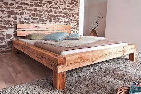 bett 140x200 balkenbett vollholz rustikal doppelbett wildeiche massiv geölt