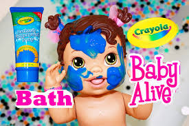 Crayola Bathtub Crayons Collection by Baby Alive Messy Baby Surprise Bath Tub Orbeez Pool Finger Paint