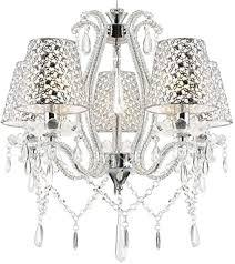 klassischer glas kristall kronleuchter mit lenschrirmen deckenleuchte deckenle für wohnzimmer ø50cm 5 arm