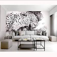 wohnzimmer schlafzimmer gemalt schwarz weiß leopard foto
