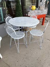 Outdoor Metal Patio Set Table W 4 Chairs #306 Crosley Griffith Outdoor Metal Five Piece Set 40 Patio Ding How To Paint Fniture Best Pick Reports Details About Bench Chair Garden Deck Backyard Park Porch Seat Corentin Vtg White Mid Century Wrought Iron Ice Cream Table Two French White Metal Patio Chairs W 4 Chairs 306 Mainstays Jefferson Rocking With Red Choosing Tips For At Lowescom