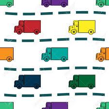Kids Trucks Retro Vector Background Seamless Pattern. Yellow ...