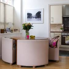 simple small round dining table set with small compact mirrors