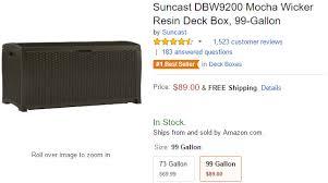 suncast wicker resin deck box mocha for 89 00 shipped