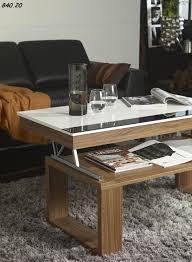 table de salon laqué blanc et bois relevable