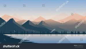 100 Minimalist Landscape Vector Polygonal Stock Vector Royalty