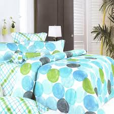 Blue and Green Bulb Circle Checkered Cotton Bedspread with White