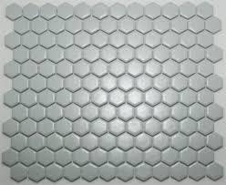 lyric 1 x 1 satin glazed porcelain mosaic hex tile in mist gray