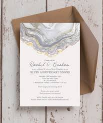 Agate Crystal 25th Silver Wedding Anniversary Invitation from