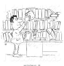 Coloring Page Of A Librarian Man Archiving His Books