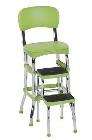 Cosco Retro Chair With Step Stool Black by Cosco Products Cosco Red Retro Counter Chair Step Stool